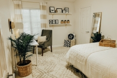 This is the guest bedroom, in my Home. Styled with real and fake plants, to bring life and tropical vibes, to the space.