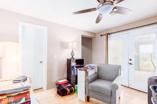 3rd Bedroom with French Doors & Laundry Room Access